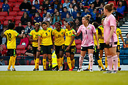 Jamaica celebrate their equaliser during the International Friendly match between Scotland Women and Jamaica Women at Hampden Park, Glasgow, United Kingdom on 28 May 2019.