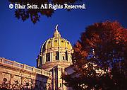 PA Capitol, Fall Season, Autumn Leaves, Joseph, Huston, Architect, Harrisburg, Pennsylvania