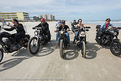 Riding on the beach during Daytona Bike Week 75th Anniversary event. FL, USA. Thursday March 3, 2016.  Photography ©2016 Michael Lichter.