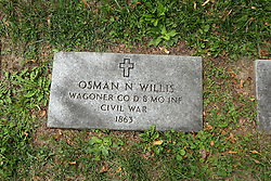 26 August 2017:   A part of the History of McLean County Illinois.<br /> <br /> Tombstones in Evergreen Memorial Cemetery.  Civic leaders, soldiers, and other prominent people are featured. Civil War Veterans Section.  Osman N Willis.  Wagoner.  Co D Mo INF.  1863.