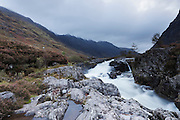 The section of waterfalls on the River Coe, near to the Clachaig Inn at dawn.