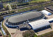 Nederland, Friesland, Heerenveen, 01-05-2013; IJsstadion Thialf, overdekte schaatsbaan, bekend van het langebaanschaatsen..Ice stadium Thialf, covered Icerink .luchtfoto (toeslag op standard tarieven).aerial photo (additional fee required).copyright foto/photo Siebe Swart