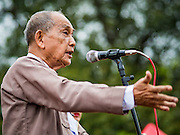 03 NOVEMBER 2015 - YANGON, MYANMAR:   U THU WAI, a former political prisoner, and chairman of the Democratic Party Myanmar, speaks at a Democratic Party Myanmar rally in Yangon. The Democratic Party of Myanmar was established in the wake of the 1988 protests and contested the 2010 elections. The party is running candidates in several races for the Myanmar legislature.        PHOTO BY JACK KURTZ