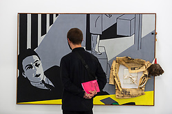 """© Licensed to London News Pictures. 06/10/2021. LONDON, UK. """"The Book (Portrait of André Breton)"""", 1966, by Hervé Télémaque. Preview of 'A Hopscotch of the Mind' by Hervé Télémaque at the Serpentine Gallery.  It is the Haitian-French artist's first exhibition in the UK with works from the late 1950s until the present day which describe racism, imperialism and colonialism.  The show runs 7 October 2021 to 30 January 2022.  Photo credit: Stephen Chung/LNP"""