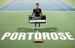 Aljaz Bedene of Slovenia posing after winning in Final match at Day 10 of ATP Challenger Zavarovalnica Sava Slovenia Open 2019, on August 18, 2019 in Sports centre, Portoroz/Portorose, Slovenia. Photo by Vid Ponikvar / Sportida