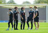 Lincoln City players on arrival at the ground<br /> <br /> Photographer Andrew Vaughan/CameraSport<br /> <br /> Football Pre-Season Friendly - Boston Utd v Lincoln City - Saturday 17th July 2021 - Jakeman's Community Stadium - Boston<br /> <br /> World Copyright © 2021 CameraSport. All rights reserved. 43 Linden Ave. Countesthorpe. Leicester. England. LE8 5PG - Tel: +44 (0) 116 277 4147 - admin@camerasport.com - www.camerasport.com