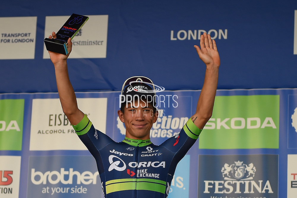 Caleb Ewan of Australia and Orica BikeExchange winner of  the Tour of Britain 2016 stage 8 , London, United Kingdom on 11 September 2016. Photo by Martin Cole.