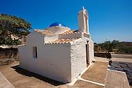 Exterior of the rare 12th Century Greek Orthodox Byzantine Church of the Ayioi Apstoloi ????? ?????????, Holy Apostles)  Katomeria, Kea, Greek Cyclades Islands