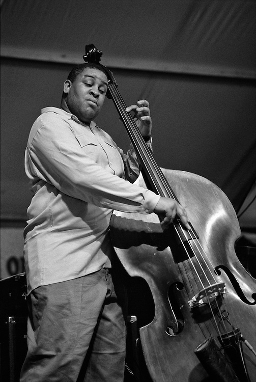 Dwayne Burno performing on the WWOZ stage in the Jazz Tent at the New Orleans Jazz and Heritage Festival in New Orleans, Louisiana. USA. Camera: Leica R8 / Lens: 180mm f/2.8 Elmarit-R / Film: Illford HP5 400