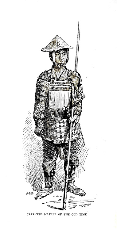Japanese Soldier of the old time from the book ' Rambles in Japan : the land of the rising sun ' by Tristram, H. B. (Henry Baker), 1822-1906. Publication date 1895. Publisher New York : Revell