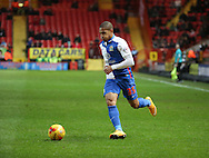 Blackburn Rovers striker, Simeon Jackson (35) dribbling down the wing during the Sky Bet Championship match between Charlton Athletic and Blackburn Rovers at The Valley, London, England on 23 January 2016. Photo by Matthew Redman.