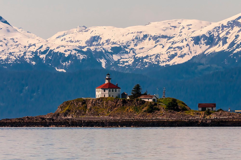 The Eldred Rock Lighthouse on the Lynn Canal (the deepest fjord in North America), near Juneau, Alaska USA.