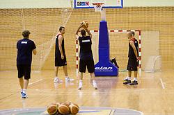 Mirza Begic, Goran Jagodnik during practice session of Slovenian National Basketball team during training camp for Eurobasket Lithuania 2011, on July 12, 2011, in Arena Vitranc, Kranjska Gora, Slovenia. (Photo by Vid Ponikvar / Sportida)