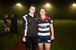 Izzy Noel-Smith of Bristol Ladies poses with sponsor racing driver Matt Cowley - Mandatory by-line: Paul Knight/JMP - 11/11/2017 - RUGBY - Cleve RFC - Bristol, England - Bristol Ladies v Loughborough Lightning - Tyrrells Premier 15s