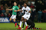 Tammy Abraham of Swansea city reacts after missing a chance at goal with Ben Foster, the goalkeeper of West Bromwich Albion to beat. . Premier league match, Swansea city v West Bromwich Albion at the Liberty Stadium in Swansea, South Wales on Saturday 9th December 2017.<br /> pic by  Andrew Orchard, Andrew Orchard sports photography.