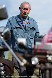 Victor Boocock turned 76 while riding his 1914 Harley-Davidson 10e on his 5th cross-country trip on the Motorcycle Cannonball coast to coast vintage run. Portland, ME. Friday September 7, 2018. Photography ©2018 Michael Lichter.