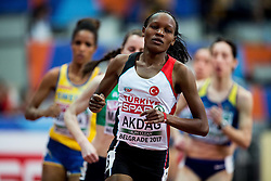 Meryem Akdag of Turkye competes in the Women's 1500 metres heats on day one of the 2017 European Athletics Indoor Championships at the Kombank Arena on March 3, 2017 in Belgrade, Serbia. Photo by Vid Ponikvar / Sportida