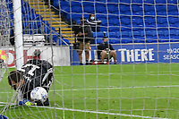 Football - 2019 / 2020 Championship - Play-off semi-final - 1st leg - Cardiff City vs Fulham<br /> <br /> Alexander Smithies of Cardiff City is beaten by a free kick from Neeskens Kebano of Fulham in extra time<br /> in a match played with no crowd due to Covid 19 coronavirus emergency regulations, in an almost empty ground, at the Cardiff City Stadium<br /> <br /> COLORSPORT/WINSTON BYNORTH