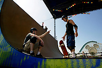 """Jul 01, 2003; Anaheim, California, USA; Two skateboarding athletes horse around during warmups at Disney's California Adventure """"X Games Experience"""".  <br />Mandatory Credit: Photo by Shelly Castellano/Icon SMI<br />(©) Copyright 2003 by Shelly Castellano"""