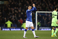 Kevin Mirallas of Everton claps to the crowd after the final whistle. Capital one cup semi final 1st leg match, Everton v Manchester city at Goodison Park in Liverpool on Wednesday 6th January 2016.<br /> pic by Chris Stading, Andrew Orchard sports photography.