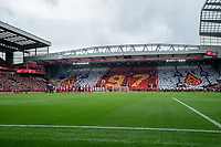 Football - 2021 / 2022 Premier League - Liverpool vs Burnley - Anfield - Saturday 21st August 2021<br /> <br /> <br /> <br /> Players take a minutes applause as a mural displays in the Top stand for the 97 Liverpool fans unlawfully killed from the Hillsborough tragedy.