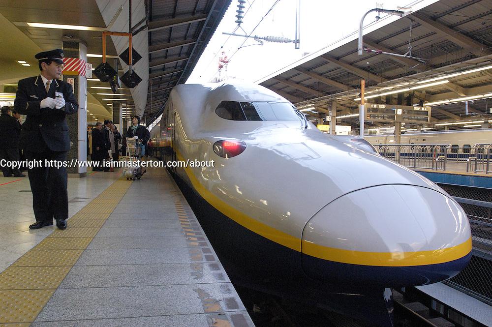 Japanese bullet train at platform in Tokyo Station