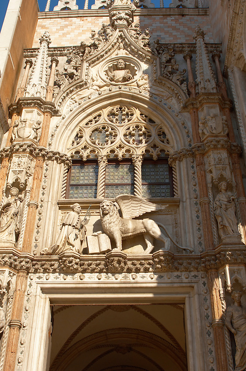 Sculpture of a Dogue and the Lionb of Venice above a door of Doges Palace - Venice Italy .<br /> <br /> Visit our ITALY HISTORIC PLACES PHOTO COLLECTION for more   photos of Italy to download or buy as prints https://funkystock.photoshelter.com/gallery-collection/2b-Pictures-Images-of-Italy-Photos-of-Italian-Historic-Landmark-Sites/C0000qxA2zGFjd_k<br /> <br /> <br /> Visit our MEDIEVAL PHOTO COLLECTIONS for more   photos  to download or buy as prints https://funkystock.photoshelter.com/gallery-collection/Medieval-Middle-Ages-Historic-Places-Arcaeological-Sites-Pictures-Images-of/C0000B5ZA54_WD0s
