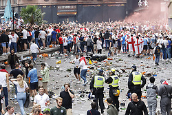 © Licensed to London News Pictures. 11/07/2021. London, UK. Supporters gather in Leicester Square, central London on the day of the final of EURO 2020 at Wembley where England will play Italy tonight. Photo credit: Peter Macdiarmid/LNP