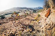 Team Topeak-Ergon's Erik Kleinhans leads the men's elite riders up the notorious Sonop climb, during the 2017 Fairview Attakwas Extreme MTB Challenge. Photo by: Ewald Sadie/Dryland/SPORTZPICS