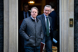 © Licensed to London News Pictures. 11/02/2020. London, UK. Chancellor of the Duchy of Lancaster Michael Gove (R) and Secretary of State for Scotland Alister Jack (L) leave 10 Downing Street after a Cabinet meeting. The Prime Minister has announced that the HS2 rail project will go ahead. Photo credit: Rob Pinney/LNP
