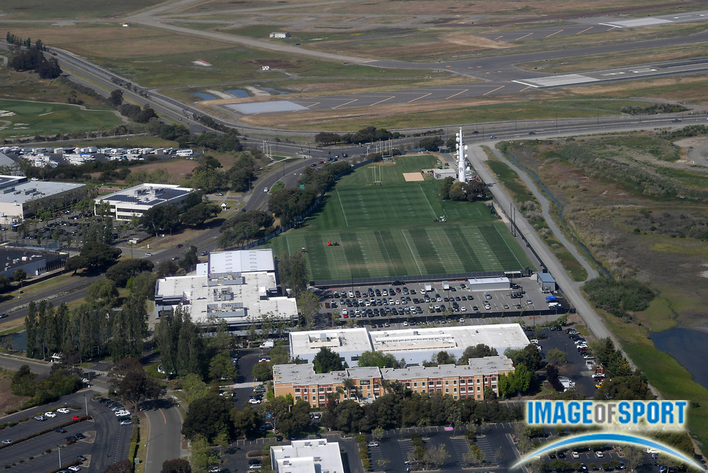 General overall aerial view of the Oakland Raiders practice facility..