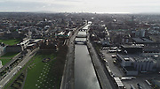 Aerial Photos of Dublin city Centre During Travel Restrictions, 3-4-20, 3rd March 2020, Covid 19, Friday Morning, Rush Hour, showing almost, Empty Streets, as people, curtail all but essential moment, Ireland, and Irish are doing their best to reduce risk to others, Liffey, Croppies Acre, Rory O'Moore Bridge, James Joyce, Bridge, liffey Photos, Photo, Snap, Streets, Street,