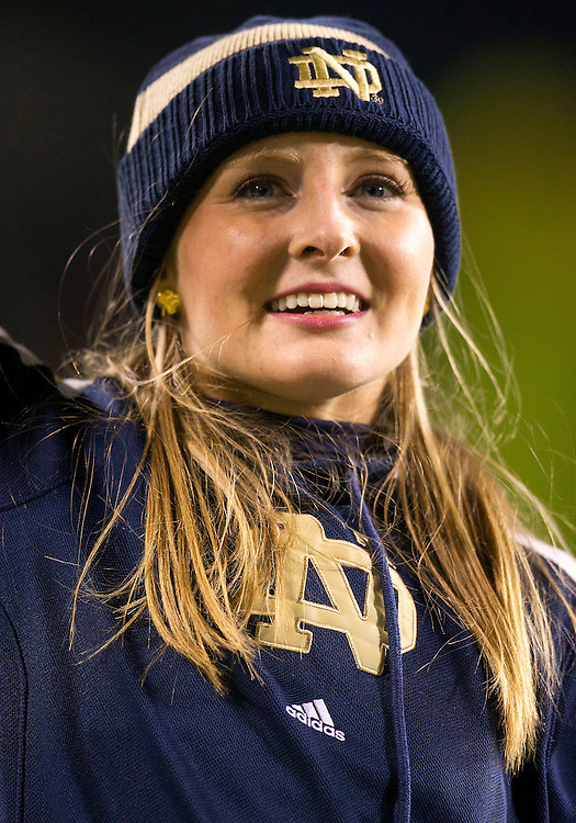 October 06, 2012:  Notre Dame cheerleader Erin Ward performs during NCAA Football game action between the Notre Dame Fighting Irish and the Miami Hurricanes at Soldier Field in Chicago, Illinois.  Notre Dame defeated Miami 41-3.