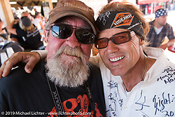 Jay Allen and Clean Dean Shawler (past editor of Biker Magazine) after the annual Michael Lichter - Sugar Bear Ride hosted by Jay Allen from the Easyriders Saloon during the Sturgis Black Hills Motorcycle Rally. SD, USA. Sunday, August 3, 2014. Photography ©2014 Michael Lichter.