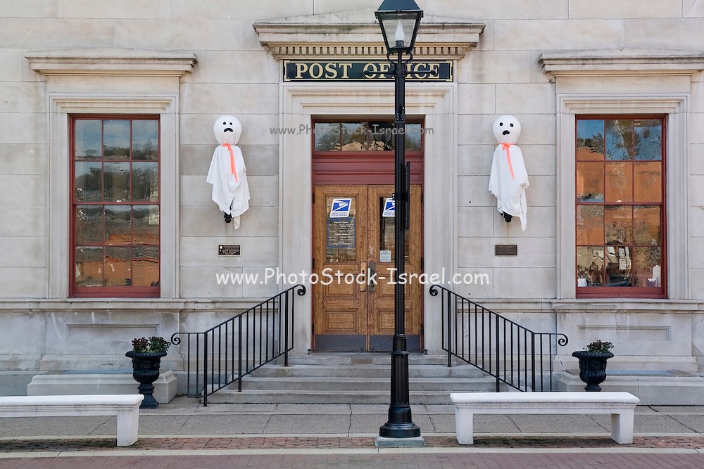 """Galena Illinois USA, US Post Office & Customs House with Halloween decorations. Built in 1857-1859 from Nauvoo limestone, this Renaissance Revival building is the second oldest continuously operating post office in the United States and the first to be named a """"Great American Post Office"""" by the Smithsonian Institution National Postal Museum. October 2006"""