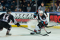 KELOWNA, BC - JANUARY 26: Bowen Byram #44 of the Vancouver Giants stick checks Matthew Wedman #20 of the Kelowna Rockets at Prospera Place on January 26, 2020 in Kelowna, Canada. Byram was selected in the 2019 NHL entry draft by the Colorado Avalanche. Wedman was selected in the 2019 NHL entry draft by the Florida Panthers. (Photo by Marissa Baecker/Shoot the Breeze)