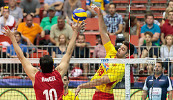 09.06.2017, TipsArena, Linz, AUT, FIVB, World League, Mexiko vs Spanien, Division III, Gruppe C, Herren, im Bild Pedro Rangel (MEX), Juan Manuel Gonzalez Limon (ESP) // Pedro Rangel (MEX), Juan Manuel Gonzalez Limon (ESP) during the men's FIVB, Volleyball World League, Division III, Group C match between Mexico and Spain at the TipsArena in Linz, Austria on 2017/06/09. EXPA Pictures © 2017, PhotoCredit: EXPA/ JFK