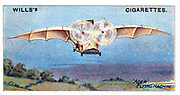 Ader's flying bird 'Eole' ('Aole').  Had wing span of 15m:  Wood and aluminium construction: Claimed to be first piloted plane to take off under own power 9 October 1890. From series of cards on aviation c1910. Chromolithograph.