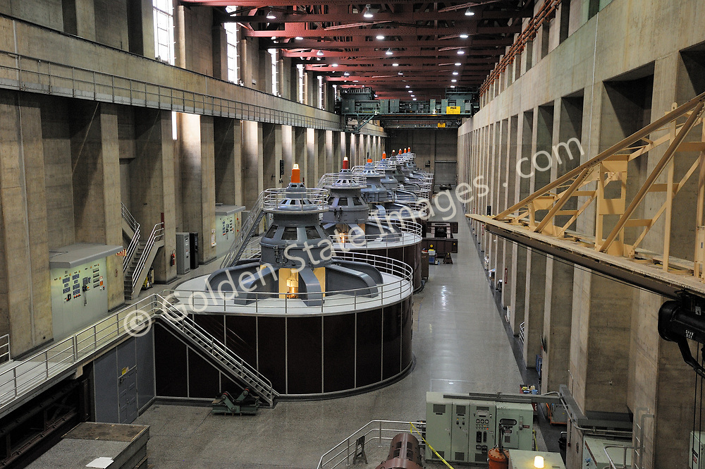The generator room on the Nevada side of Hoover Dam.<br /> <br /> Hoover Dam is designed to never have the water level of Lake Mead overtop the dam. There are spillways on each side which route excess storage around the dam.