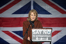 © Licensed to London News Pictures . 16/09/2018. Manchester, UK. Manchester Deputy Mayor BEVERLEY HUGHES . Thousands of people including the UK's Chief Rabbi and several Members of Parliament attend a demonstration against rising anti-Semitism in British politics and society , at Cathedral Gardens in Manchester City Centre . Photo credit : Joel Goodman/LNP