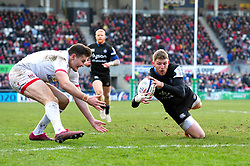 Ruaridh McConnochie of Bath Rugby scores a try in the first half - Mandatory byline: Patrick Khachfe/JMP - 07966 386802 - 18/01/2020 - RUGBY UNION - Kingspan Stadium - Belfast, Northern Ireland - Ulster Rugby v Bath Rugby - Heineken Champions Cup