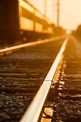 Train track and train car at Cotton Belt Railroad Depot, Grapevine, Texas USA