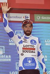 September 12, 2018 - Balcon De Bizkaia, SPAIN - Belgian Thomas De Gendt of Lotto Soudal celebrates in the red polka-dot jersey for best climber after the 17th stage of the 'Vuelta a Espana', Tour of Spain cycling race, 157km from Getxo to Balcon de Bizkaia, Spain, Wednesday 12 September 2018. ..BELGA PHOTO YUZURU SUNADA FRANCE OUT. (Credit Image: © Yuzuru Sunada/Belga via ZUMA Press)
