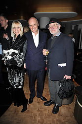 Left to right, VIRGINIA BATES, NICHOLAS COLERIDGE and BARRY LATEGAN at a party to celebrate the 15th birthday of Vogue.com held at W Hotel, Leicester Square, London W1 on 17th February 2011.