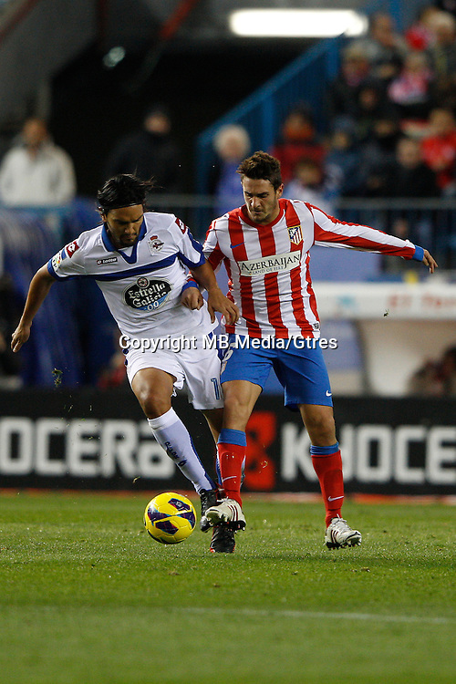 09.12.2012 SPAIN -  La Liga 12/13 Matchday 15th  match played between Atletico de Madrid vs R.C. Deportivo de la Courna (6-0) at Vicente Calderon stadium. The picture show  Juan Dominguez (Player of R.C. Deportivo)