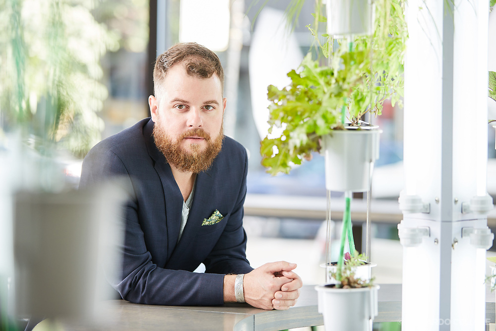 Corporate photography. Portrait of Bryce Nagels, founder and CEO of Nutri-Tower. 2016.