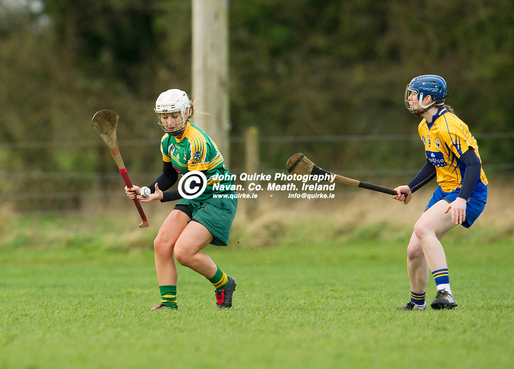 26-02-17. Meath v Clare - Littlewoods Ireland National Camogie League Division 1 Group 2 at Kilcloon.<br /> Jane Dolan, Meath and Maire McGrath, Clare.<br /> Photo: John Quirke / www.quirke.ie<br /> ©John Quirke Photography, Unit 17, Blackcastle Shopping Cte. Navan. Co. Meath. 046-9079044 / 087-2579454.
