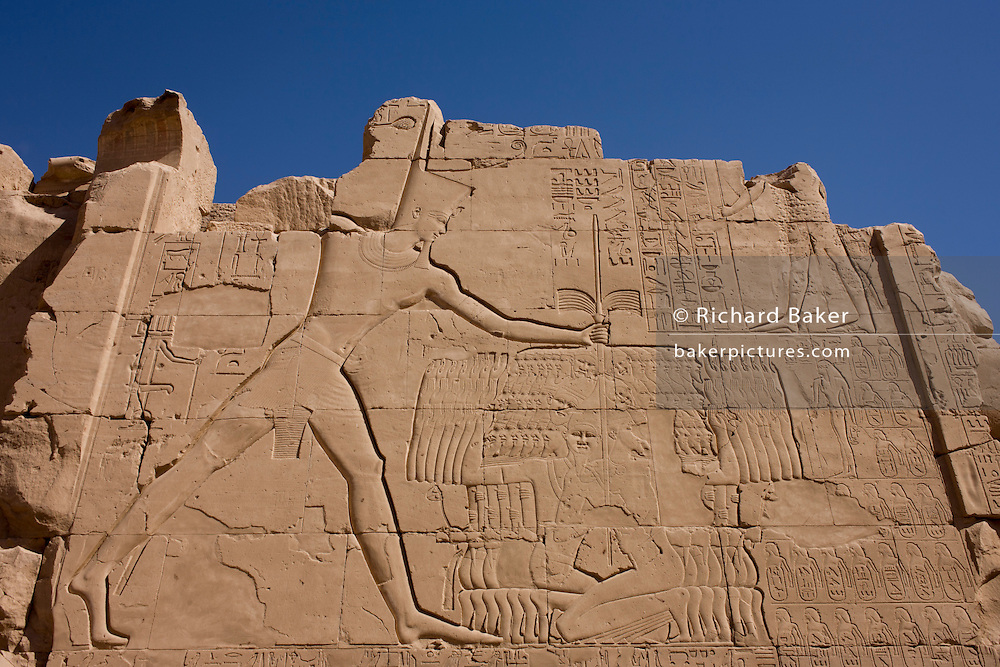 An ancient Egyptian relief showing Pharaoh Thutmosis III slaying Canaanite captives from the Battle of Megiddo, 15th Century BC. seen at Karnak, Luxor, Nile Valley, Egypt. The Battle of Megiddo is the first battle to have been recorded in what is accepted as relatively reliable detail. Megiddo is also the first recorded use of the composite bow and the first body count. All details of the battle come from Egyptian sources—primarily the hieroglyphic writings on the Hall of Annals in the Temple of Amun-Re at Karnak, Thebes by the military scribe Tjaneni.