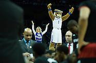 21 MAR 2015: University of Kentucky cheer team and mascot rally the fans over the University of Cincinnati huddle during the 2015 NCAA Men's Basketball Tournament held at the KFC Yum! Center in Louisville, KY. Kentucky defeated Cincinnati 64-51. Brett Wilhelm/NCAA Photos