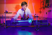 Physics: Spectra Diode Lab, San Jose, California. Don Scifres, CEO demos a 5 Watt Laser. MODEL RELEASED [1988]